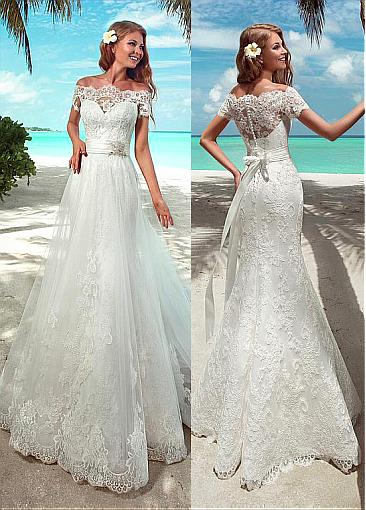 Élégant dentelle Cap manches robes de mariée col bateau a-ligne dentelle robes de mariée Court Train Long vestido de casamento robe de mariée