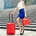 Al por mayor! Mujeres bolsas de equipaje de viaje conjunto, nueva corea del estilo de moda 14 20 pulgadas carro de equipaje establece para las mujeres, rojo/púrpura/negro conjuntos