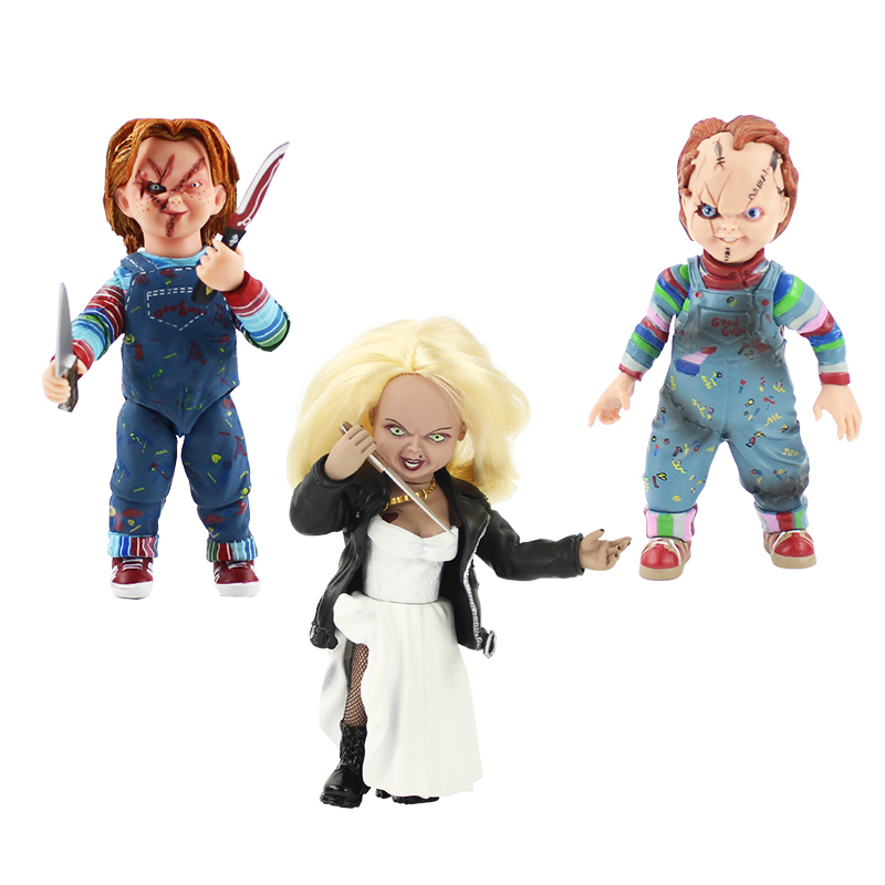 15-16cm NECA good guys Child's Play Scary Bride of Chucky 1/10 Scale Horror Doll Chucky PVC Action Figure Toy Halloween gift elsadou neca chucky action figurs child s play doll with retail box 15cm