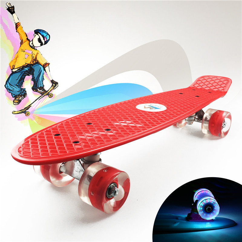 "Image 4 - Pastel Simple Color 22"" Style Skateboard Child Cruiser Mini Plastic Fish Skate Long Board With Shining Wheels-in Skate Board from Sports & Entertainment"
