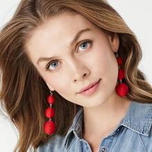 JURAN 14 Colors Elegant Ball Drop Earrings Fashion Jewelry Unique Red Long Dangle Earring For Women Trendy Fashion Jewelry