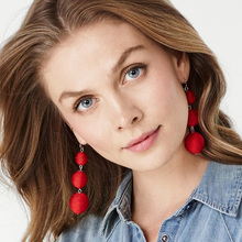 JURAN 14 Colors Elegant Ball Drop Earrings Fashion Jewelry Unique Red Long Dangle Earring For Women Trendy Fashion Jewelry