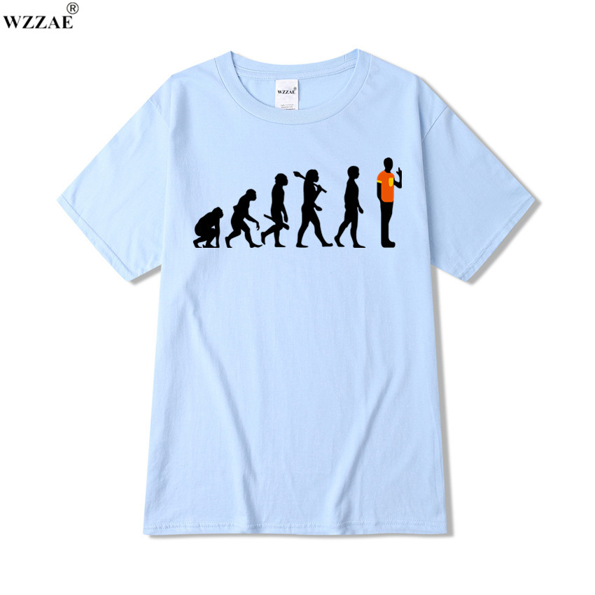 WZZAE Newest 2017 Cool Men Funny Primitive Evolution Process Design T shirt Novelty Tops Customize Printed Short Sleeve Tees