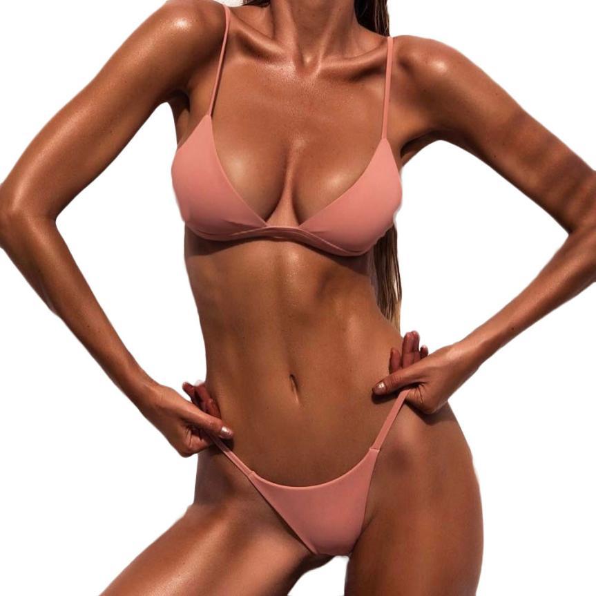 Women's swimsuit 2019 Women Push-Up Padded Bra Beach Bikini Set Swimsuit Swimwear pure color swimwear high waisted biquini