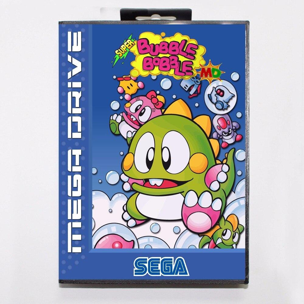 Super Bubble Bobble 16 bit MD tarjeta de juego con caja de venta al por menor para Sega Mega Drive