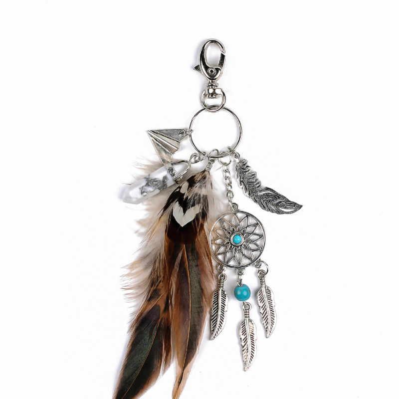 Dreamcatcher chaveiro saco boho charme moda prata jóias de opala natural pedra pena keychain presente para as mulheres menina