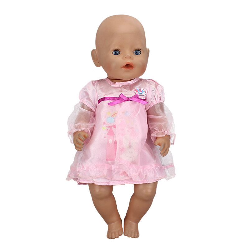 Pink Beautiful Dress Wear fit 43cm Baby Born zapf, Children best  Birthday Gift(only sell clothes)