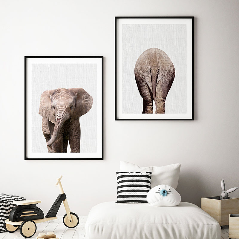 Minimalist Animal Elephant Canvas Painting Nursery Animal Wall Art Large Poster Prints Nordic Picture for Baby Living Room Decor african elephant