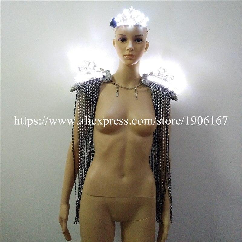 Epaulets à franges en cristal Led lumineux femmes épaule gilet mariage couronne Costume de salle de bal danse discothèque robe de soirée vêtements