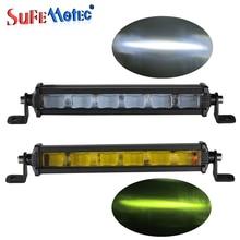 6D 8 inch 18 Вт Slim Mini светодиодный свет бар однорядные Подсветка для внедорожных Грузовиков 4X4 лодка Авто DRL Туман лампы накаливания 12 В 24 В Amber