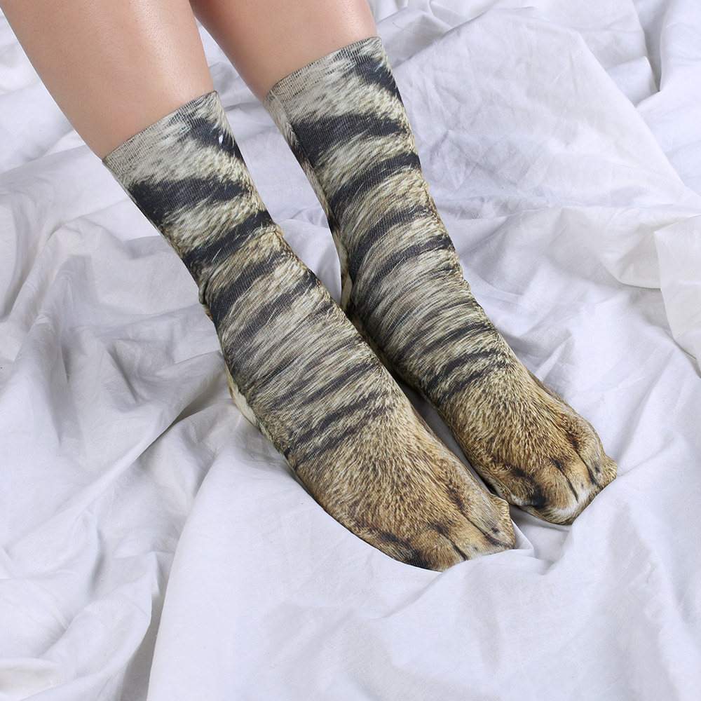 1Pair Novel Style <font><b>Unisex</b></font> Funny <font><b>Socks</b></font> Men Women Harajuku Hosiery Different Styles <font><b>Animal</b></font> Paw Pattern 3D Print <font><b>Socks</b></font> image