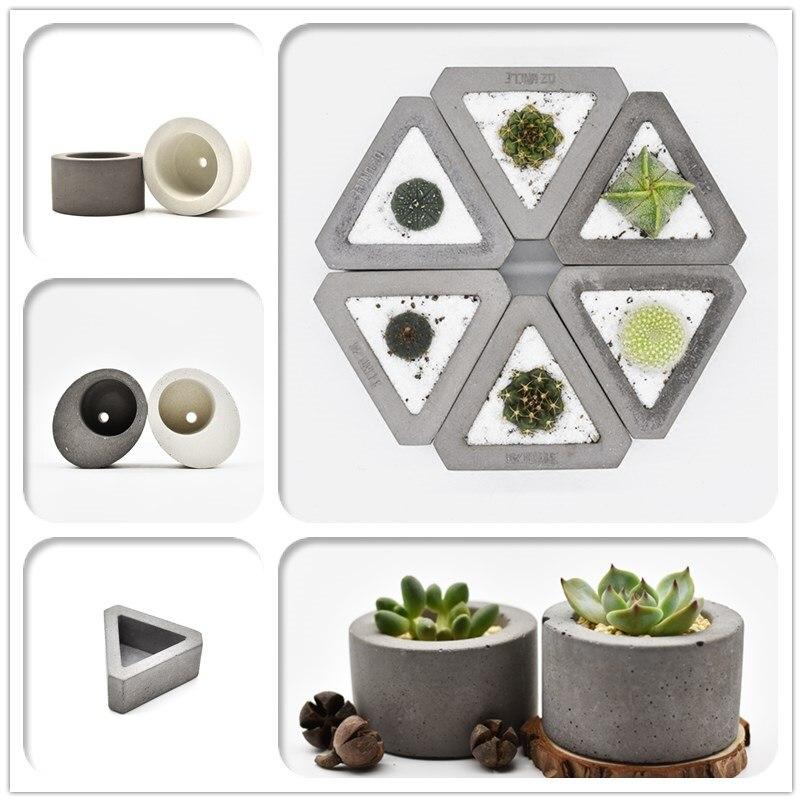 Round Silicone Concrete Planter Cement Vase Moulds Flower Pot Silicone Molds Desk Decoration