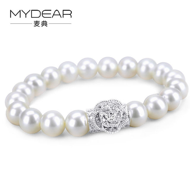 MYDEAR Fine Jewelry Freshwater Pearl Hot New Women Beauty 925 Sterling Silver Bracelet Bangle With Pearl,9-10mm,High Luster