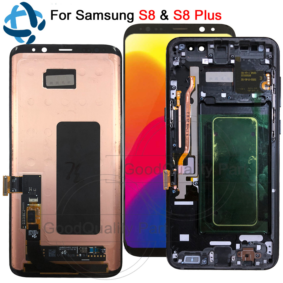 For Samsung Galaxy S8 G950 G950F LCD with Frame Replacement for SAMSUNG S8 Plus LCD G955 Display lcd Touch Screen DigitizerFor Samsung Galaxy S8 G950 G950F LCD with Frame Replacement for SAMSUNG S8 Plus LCD G955 Display lcd Touch Screen Digitizer