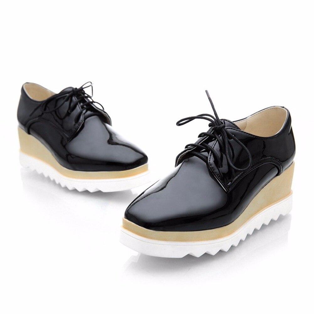 0881bb3a432f Купить 2018 г. Новая женская повседневная женская обувь с квадратным носком модные  туфли на танкетке на толстой подошве платформы звезда обувь на вы.