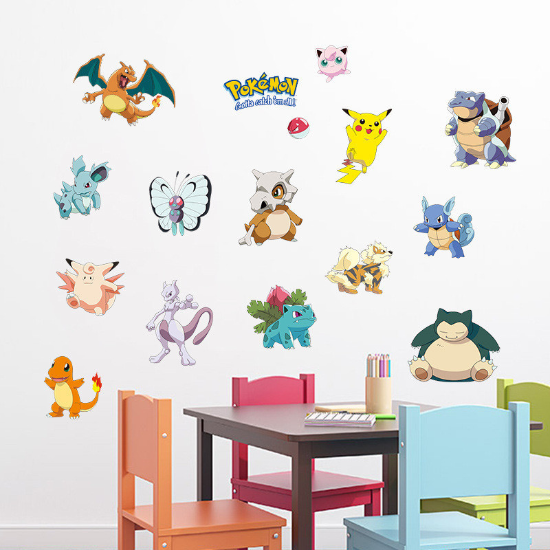 % Pocket Monster Pokemon Wall Sticker Kids Room Home Decoration Pikachu Wall Decal Amination Poster DIY Game Cartoon Wallpaper
