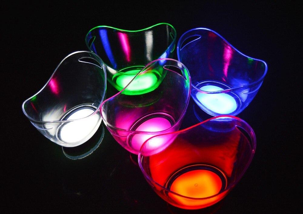 4L Volumen de plástico cubo de hielo led SOLO color 4L bares discotecas luz LED cubo de hielo champán vino cerveza cubo bares
