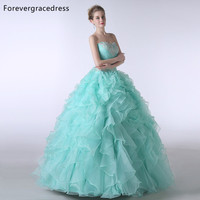 Forevergracedress Real Pictures Mint Green Ruffles Sweetheart Quinceanera Dress New Organza Long Formal Party Gown Plus Size
