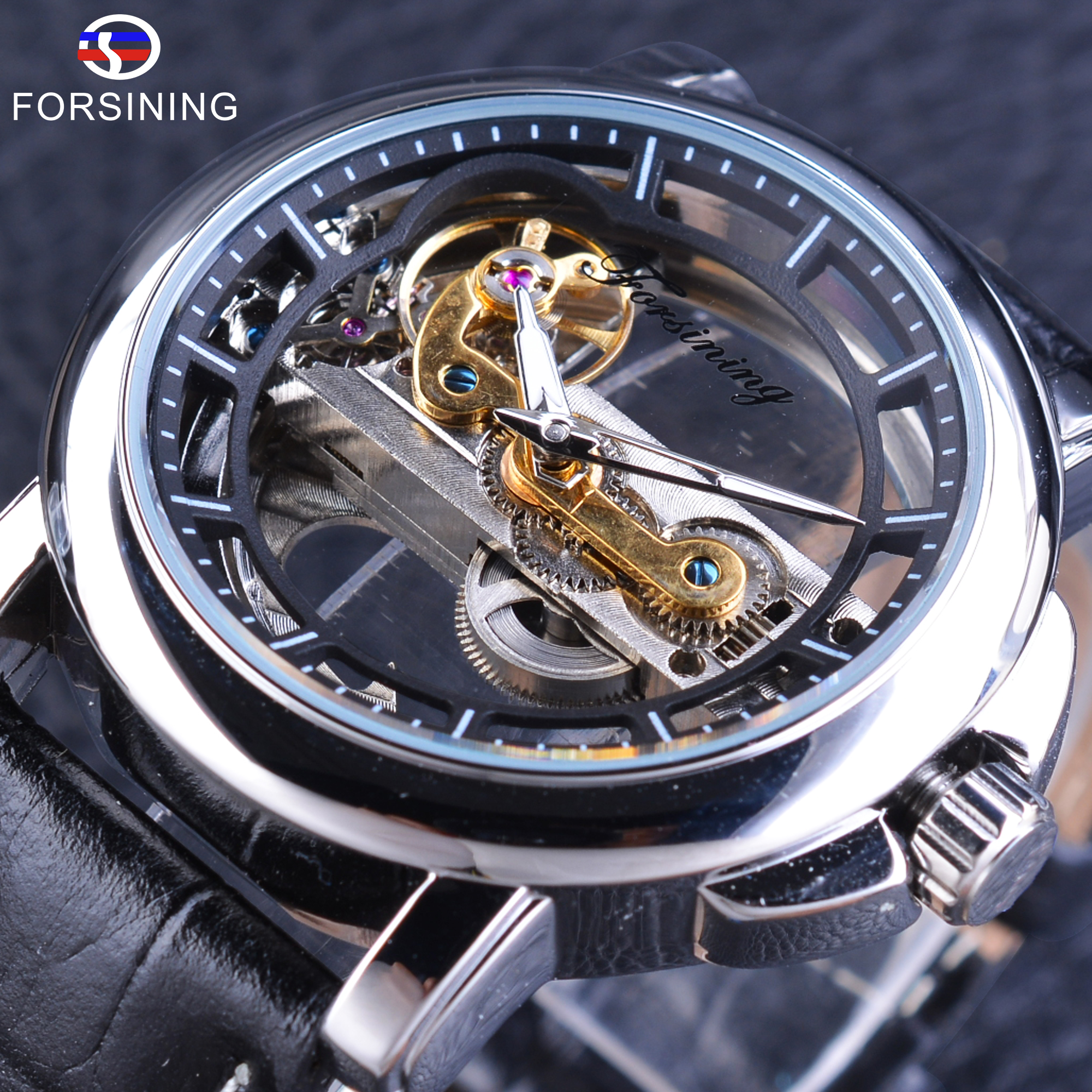 Forsining Men's Mechanical Watches with Automatic Winding Waterproof Clock Men Steampunk Watch Genuine Leather Sport Wrist Watch forsining golden stainless steel sport watch steampunk men watch luminous openwork mechanical watches folding clasp with safety