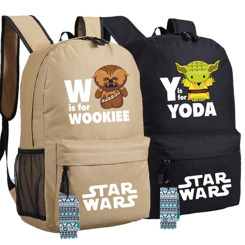 wookie and yoda star wars school backpack