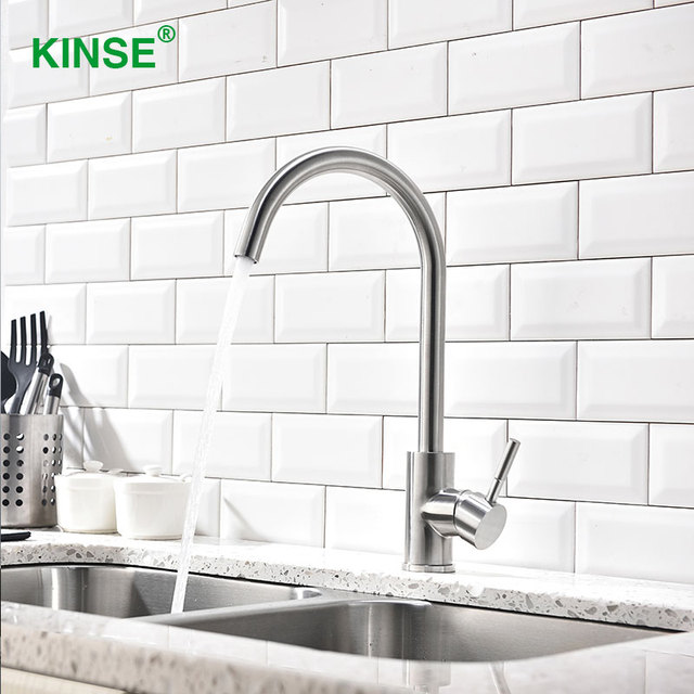 KINSE Modern SUS304 Stainless Brushed Nickel Kitchen Faucets Single Hole  Single Handle