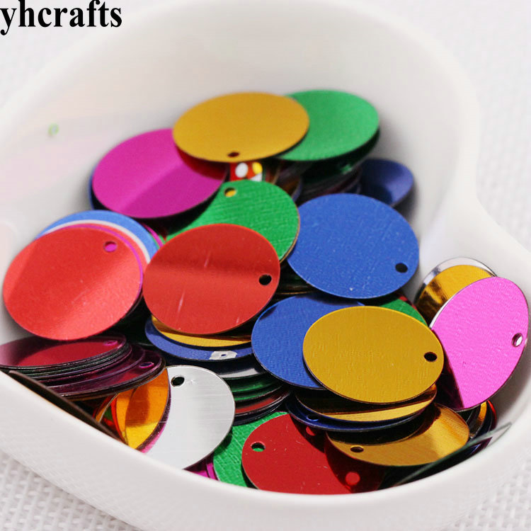 20gram/Lot. 15mm Round With Hole Sequins Craft Material Kindergarten Crafts Creative Activity Item Color Learning Make Your Own