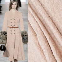Light Camel Rabbit Wool Cashmere Jacquard Fabric For Dress Fashion Plush Fabrics Tecidos Para Roupa Costura Coat Telas Cloth DIY