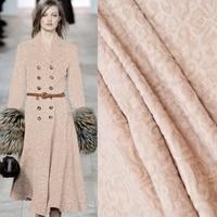 Light Camel Rabbit Wool Cashmere Jacquard Fabric For Dress Fashion Plush Fabrics Tecidos Para Roupa Costura Coat Telas Cloth DIY