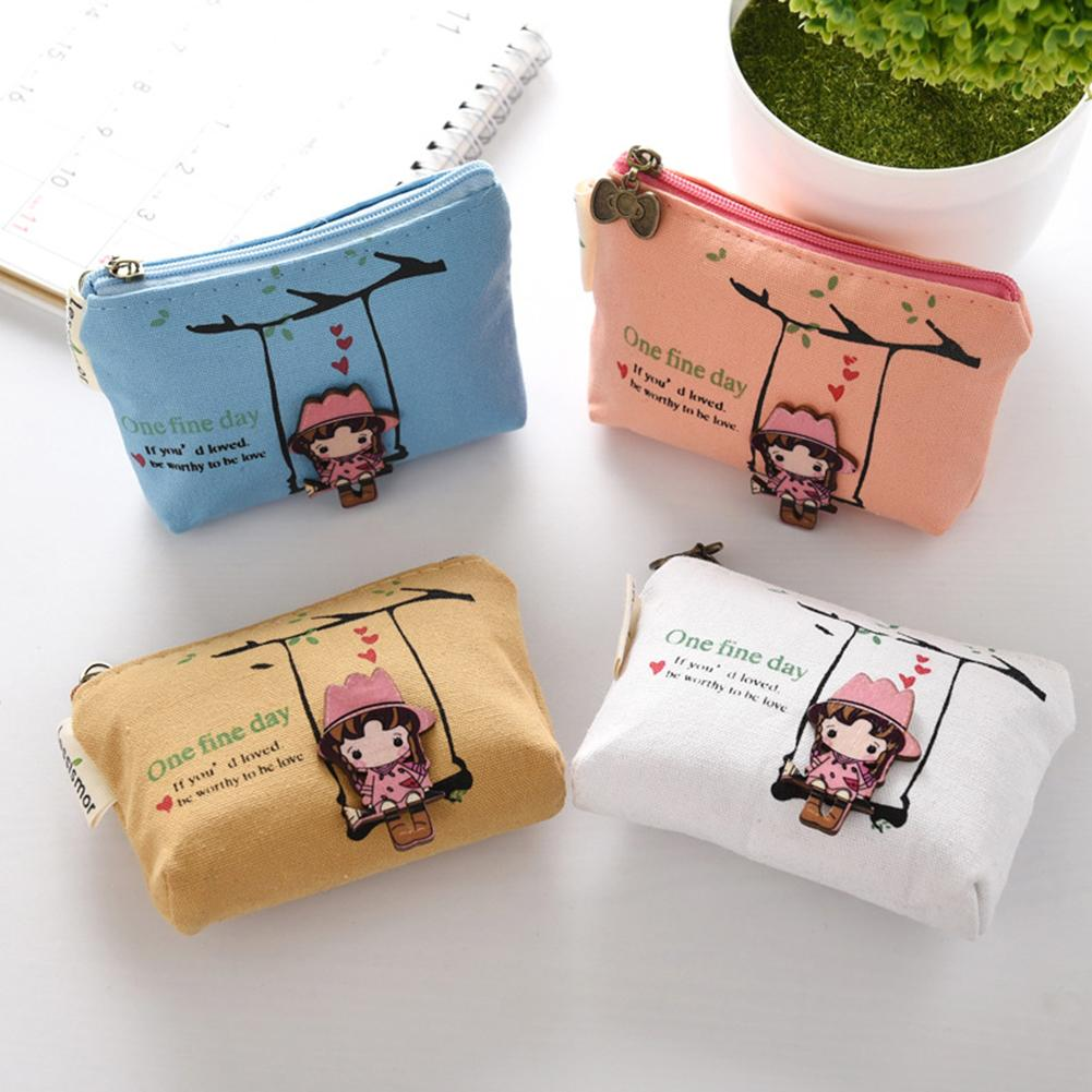 Cartoon Swing Girl Canvas Mini Wallet Coins Purse Keys Holder Clutch Bags for Women 2018