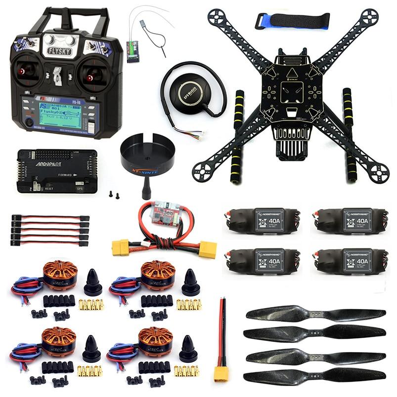 DIY RC Drone 4 Axle FPV S600 Frame Kit with APM 2.8 No Compass Flysky FS-i6 6CH Transmitter 700KV Motor 40A ESC XT60 F19457-I цена 2017