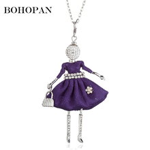 Figure Doll Pendant Necklace For Women Rhinestone Belt Flower Design Silver Color Alloy Necklace Girl Long Sweater Chain Jewelry graceful rhinestone alloy sweater chain for women