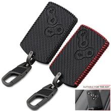 4 botões de fibra de carbono estilo do carro de couro estilo chave capa caso protetor para renault clio logan megane 2 3 koleos scenic cartão