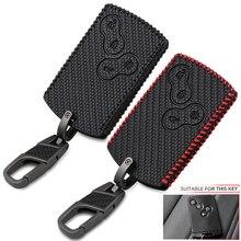 4 przyciski z włókna węglowego styl skórzany samochód stylizacji klucz pokrywa ochraniacz na drążek skrzyni biegów dla Renault Clio Logan Megane 2 3 Koleos Scenic Card