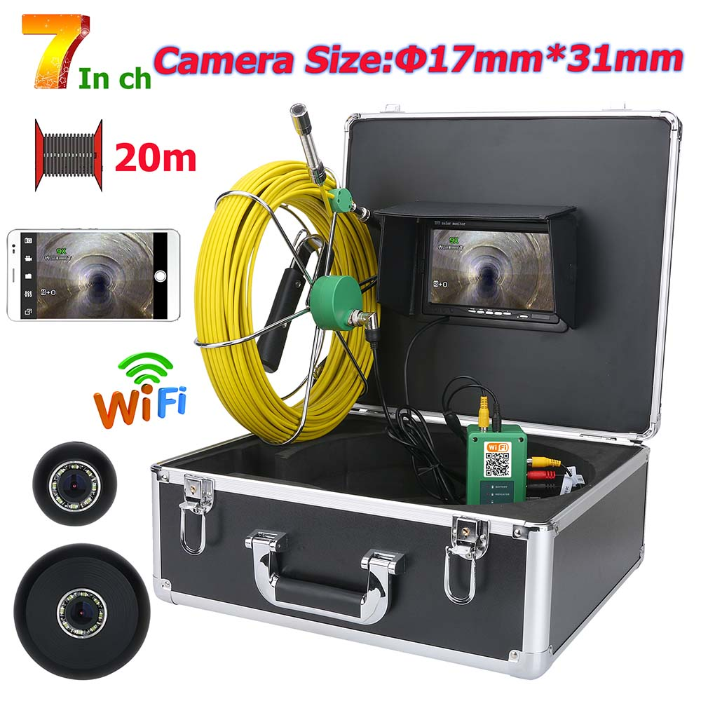 20M/30M/40M/50M 7inch WiFi Wireless17mm Industrial Pipe Sewer Inspection Video Camera System IP68 Waterproof 1000 TVL Camera
