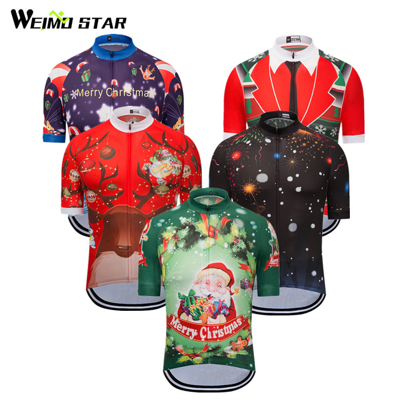 Weimostar Summer Cycling Jersey Short Sleeve Men Women Christmas Cycling Clothing Outdoor Sport mtb Bicycle Clothes Bike Jersey
