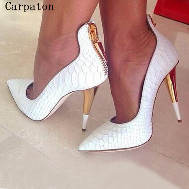 Classical White Crocodile PU Leather Pointed Toe High Heels Women ...
