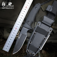 HX Outdoors Survival Hunting Knife D2 Steel Fixed Blade Knives Straight Camping Knives Multi Tactical Rubber