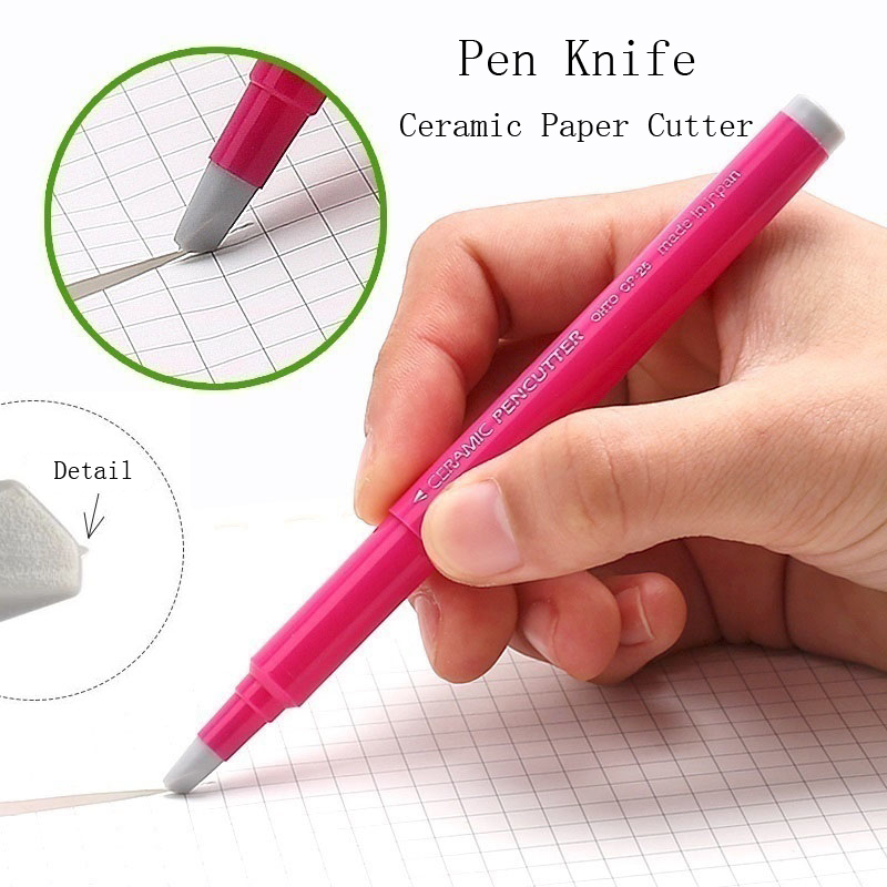 Fromthenon Japan Creative Paper Pen Knife Wear-Resisting Newspaper Hand Book Paper Cutter Tape Ceramic Blade Cutting Knives 13cm