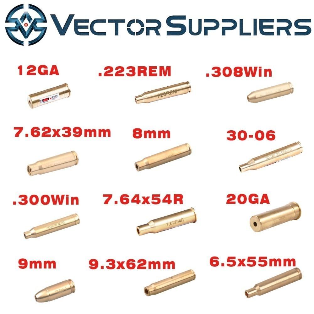 12 GA 20GA. 308. 3006. 223 5.56 7.62x54 7.62x39 9.3x62mm 6.5x55mm 8 9mm Cartuccia laser rosso Foro Sighter Collimatore Boresighter