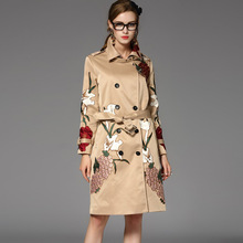 Brand New 2016 Women Winter British Style Fancy Embroidery Warm Coat Turn-down Neck Long Loose Trench with Sashes High Quality