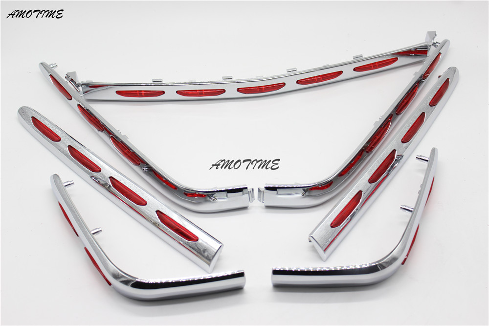 Motorcycle Chrome Fairing Saddlebag Light Accents Fit Honda Goldwing 1800 GL1800 2001-2011 02 03 04 05 06 07 08 09 10 Left righ chrome motorcycle front fairing headlight lower grill case for honda goldwing 1800 gl1800 2001 2011