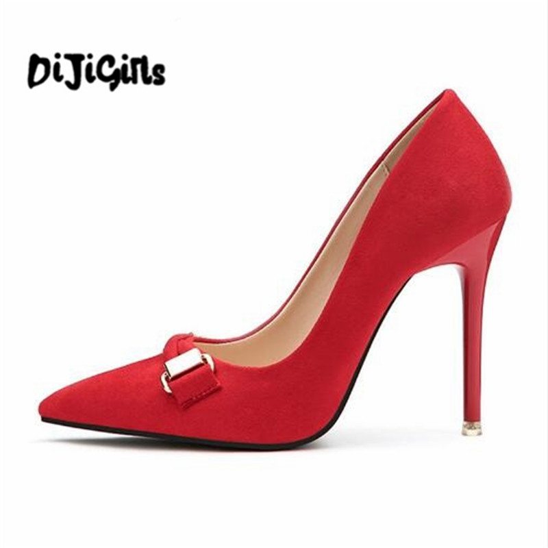 2018 Spring Summer Female shoes Sexy pointed toe high heels Top quality Faux suede women pumps Elegant wedding dress shoes woman fashion new spring summer med high heels good quality pointed toe women lady flock leather solid simple sexy casual pumps shoes