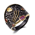 Punk Ring for Women Unique Black & Gold Plated Made with AAA Cubic Zirconia Bezel Setting Lead & Nickel Free