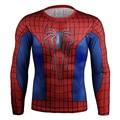 2017 Spider Man Quick Dry Malha Ventile 3D Impresso t camisa de Super-heróis Camisa Exercício Skintight Manga Longa Camisa Bicicleta
