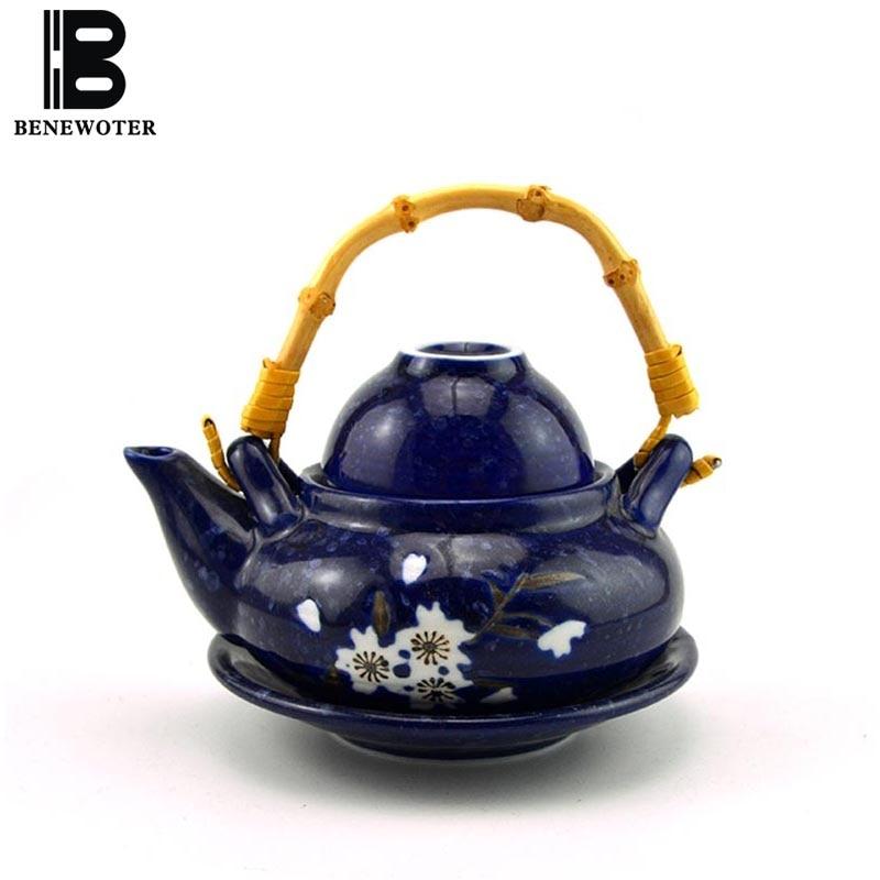 300ml Japanese Style Ceramic Porcelain Teapot Bamboo Handle Kettle Seafood Cuisine Soup Pot Blue Glaze Cherry Blossoms Teapots300ml Japanese Style Ceramic Porcelain Teapot Bamboo Handle Kettle Seafood Cuisine Soup Pot Blue Glaze Cherry Blossoms Teapots