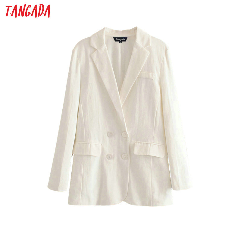 Tangada Women Loose White Blazer Long Sleeve Notched Collar Double Breasted Office Lady Work Blazer Coat Ladies Casual Tops DA73