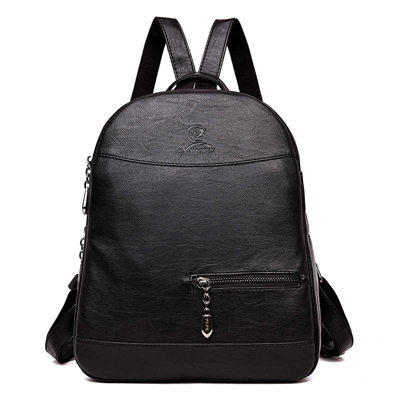 Quality Backpack Women Backpacks Fashion Small School Bags for Teenage Girls Black Scrub PU Leather Female Bagpack Sac A Dos fashion women backpack black soft leather backpacks female school shoulder bags for teenage girls travel back pack sac a dos