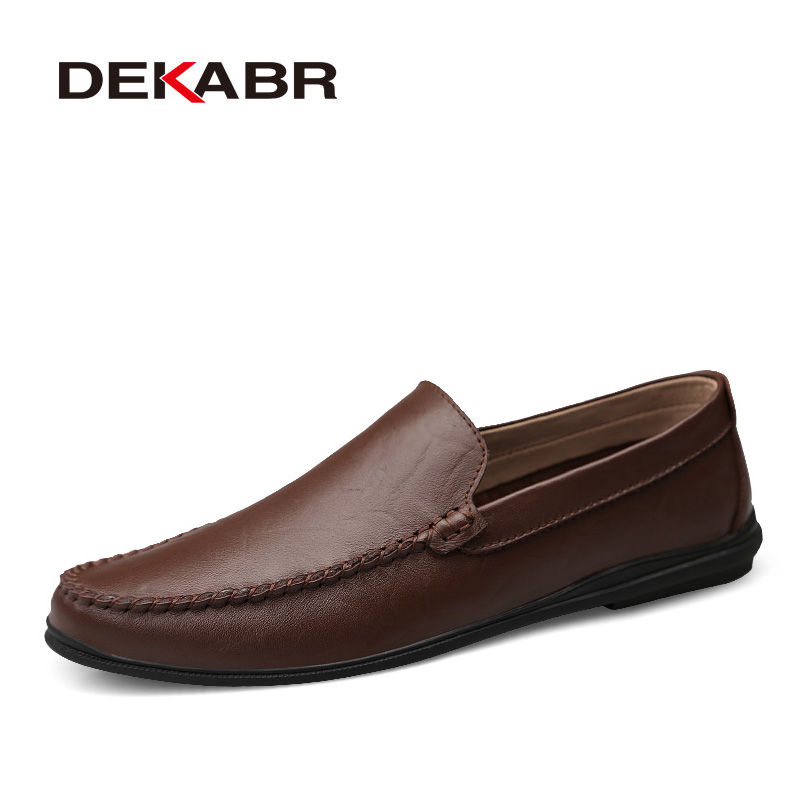 Image 5 - DEKABR Italian Mens Shoes Casual Luxury Brand Summer Men Loafers Split Leather Moccasins Comfy Breathable Slip On Boat Shoes-in Men's Casual Shoes from Shoes