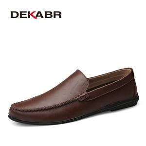 Image 5 - DEKABR İtalyan erkek ayakkabı rahat lüks marka yaz erkek mokasen ayakkabıları bölünmüş deri Moccasins rahat nefes tekne ayakkabı üzerinde kayma