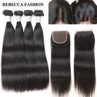 Rebecca Brazilian Straight Remy Hair 4 Bundles With Closure Human Hair Weave Bundles 400g 4x4 Lace